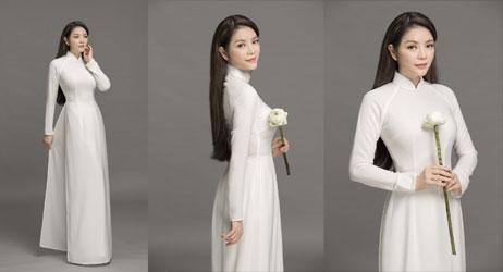 Lý Nhã Kỳ nền nã áo dài trắng