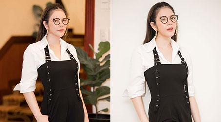 [Thời trang] Lý Nhã Kỳ nhí nhảnh với quần yếm và kính Nobita