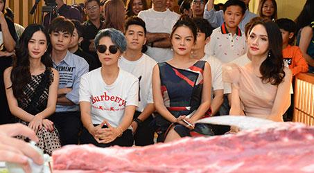 Gil Lê, Vũ Cát Tường, Hương Giang Idol, Jun Vũ, Jun Phạm, Phạm Quỳnh Anh… háo hức thưởng thức cá ngừ đại dương 110kg đến từ Nhật